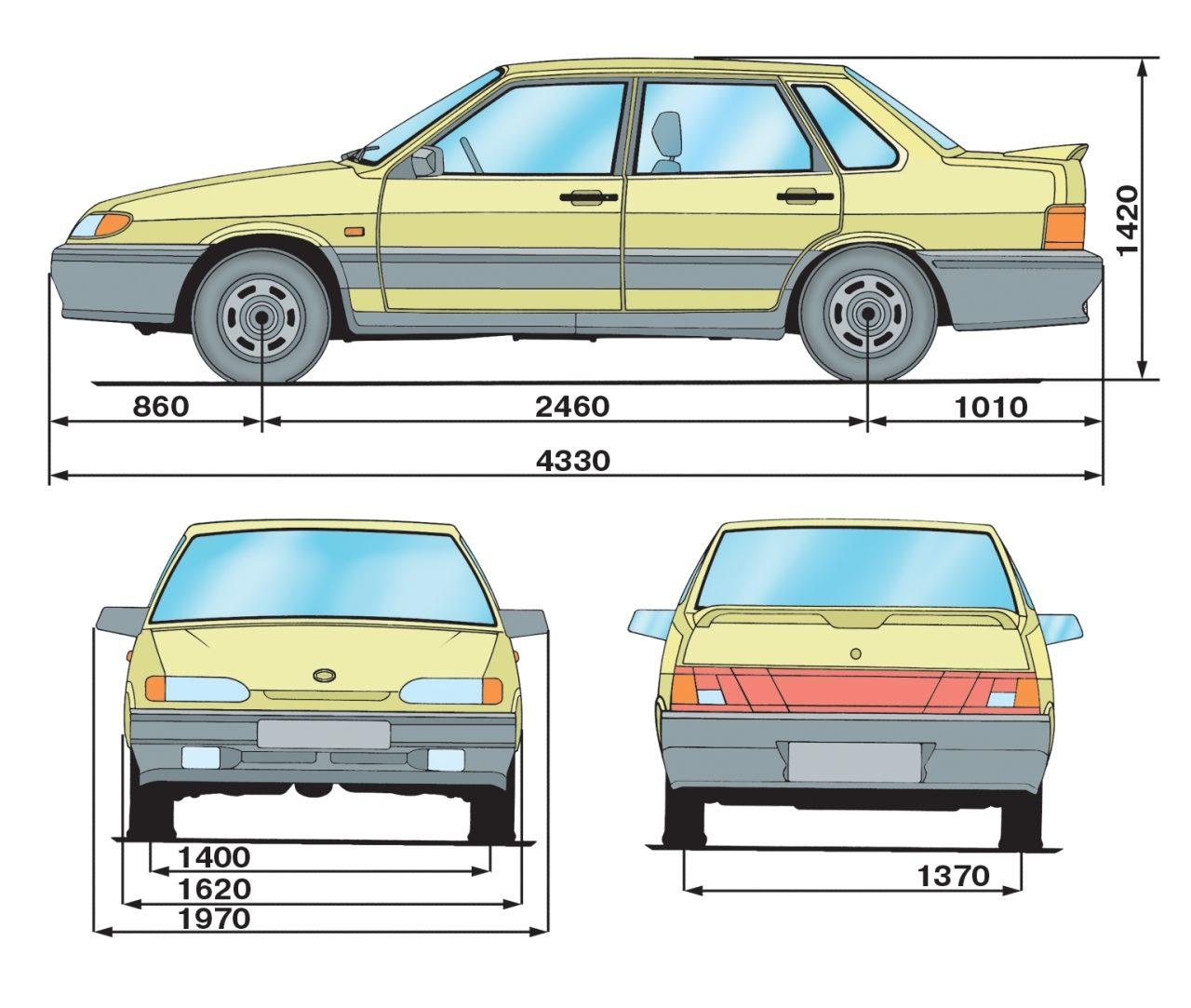 Габаритные размеры (справочные) автомобиля ВАЗ-2115