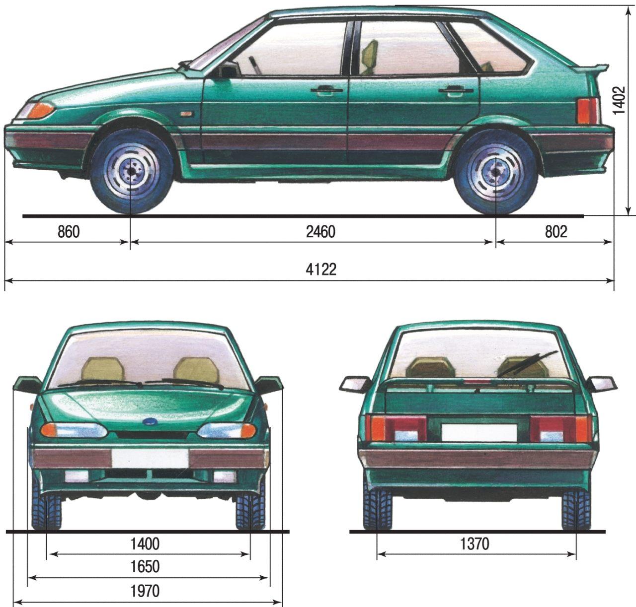 Габаритные размеры (справочные) автомобиля ВАЗ-2114